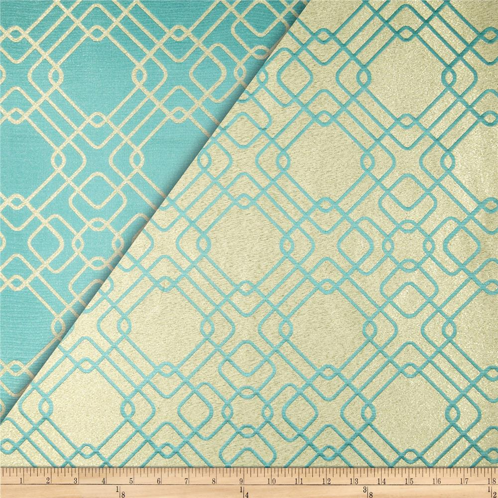 World Wide Rigel Metallic Geo Satin Jacquard Teal