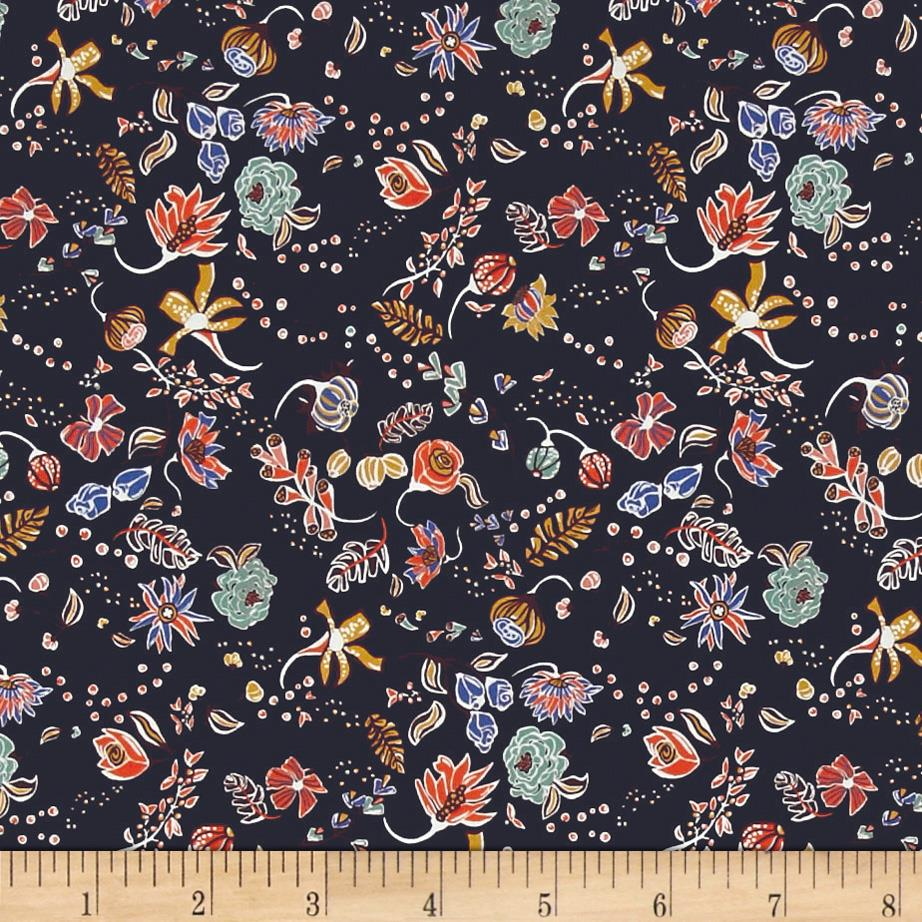Liberty of London Saville Poplin Peach Pincher Purple/Green/Blue