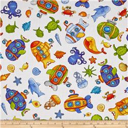Baby Zoom Submarine Tossed Sea Creatures White