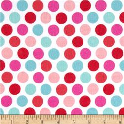 Riley Blake Lovey Dovey Flannel Dots Blue Fabric