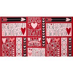 I Love You 24'' Panel Red Fabric