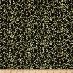 Pearle Gold Scroll Black/Gold Pearl Fabric