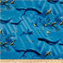 Enchanted Waters Dolphins and Whales Blue