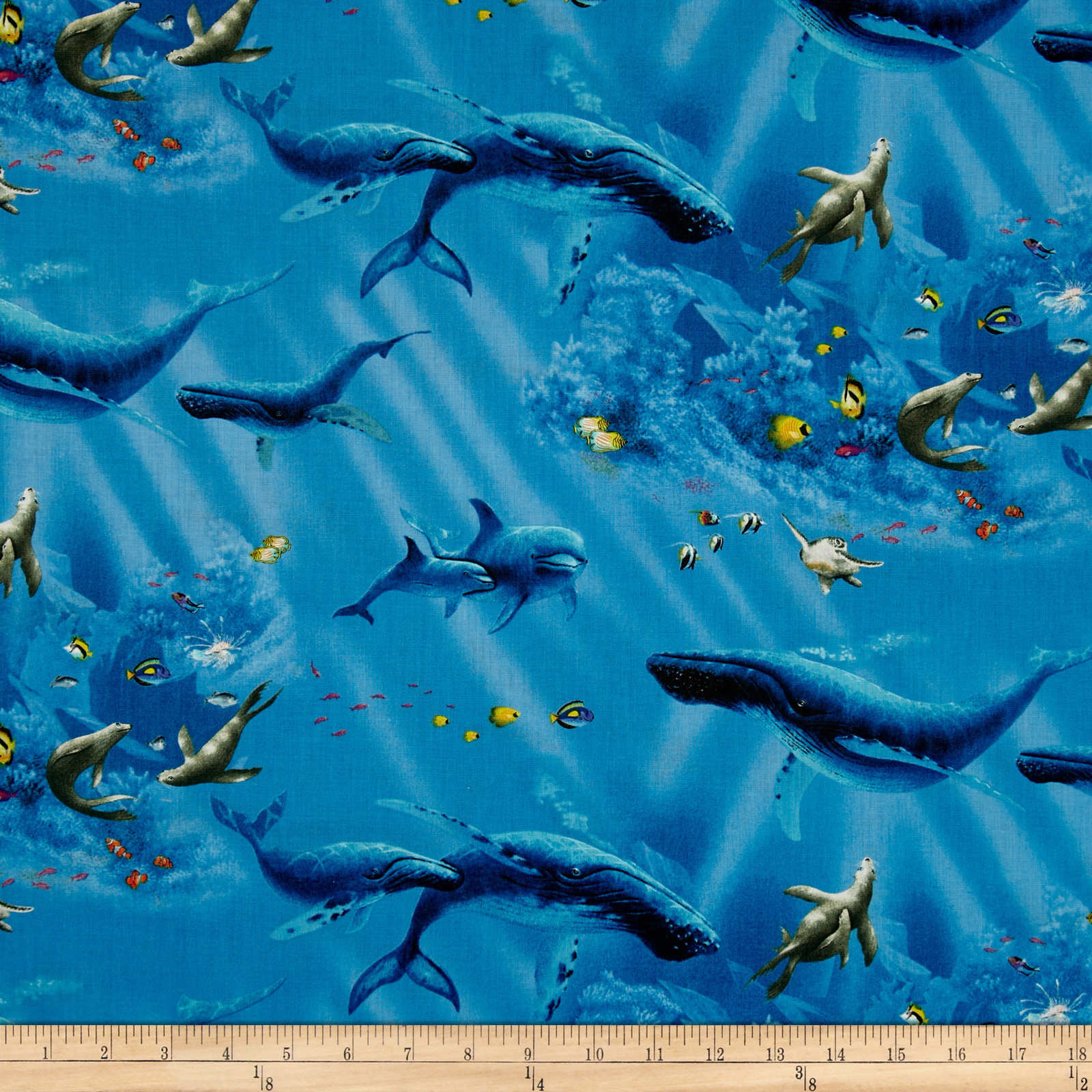 Enchanted Waters Whales Blue Fabric