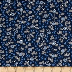 Cozies Flannel Flower Blue