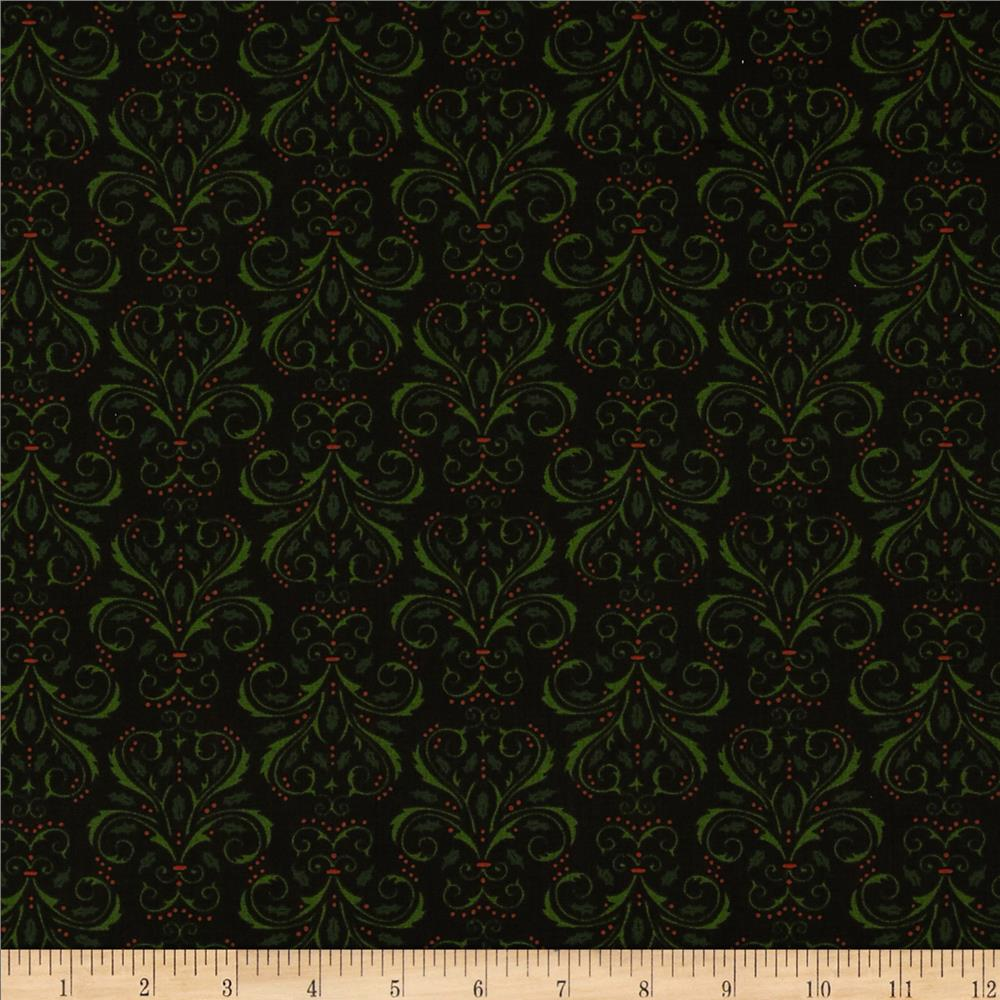 Moda Christmas Countdown Christmas Damask Midnight Black
