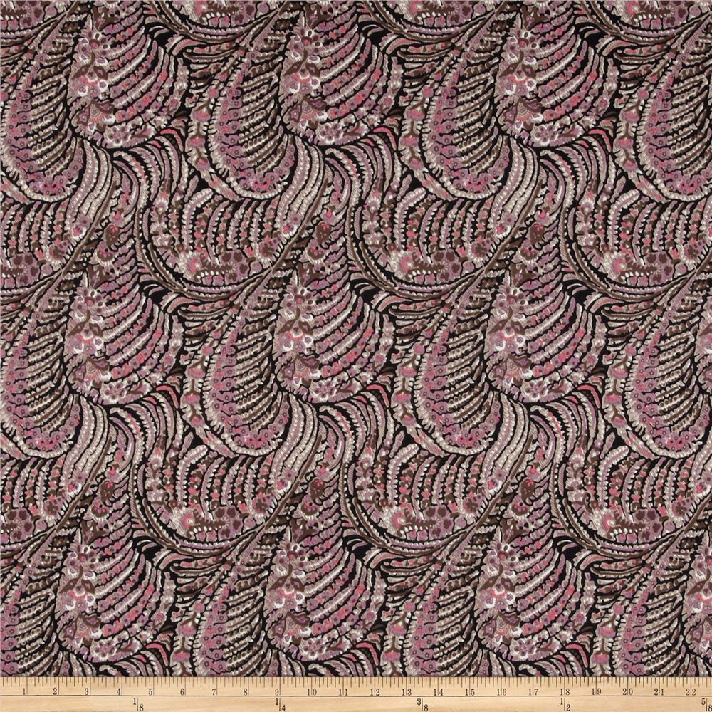 Brazil Stretch ITY Jersey Knit New Paisley Lavender/Olive/Black