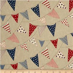 Moda Red, White & Free Buntings Stone