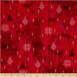 Cozy Cabin Christmas Wood Texture Metallic Red