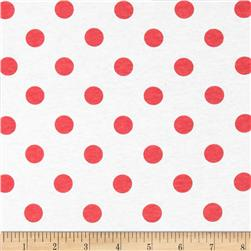 Cotton Jersey Knit Polka Dots Coral Pink/White Fabric