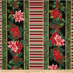 Christmas Morning Metallic Stripe/Poinsettia Multi