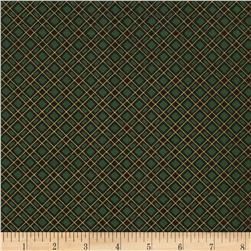 Timeless Treasures Gather Together Metallic Harvest Bias Plaid Green