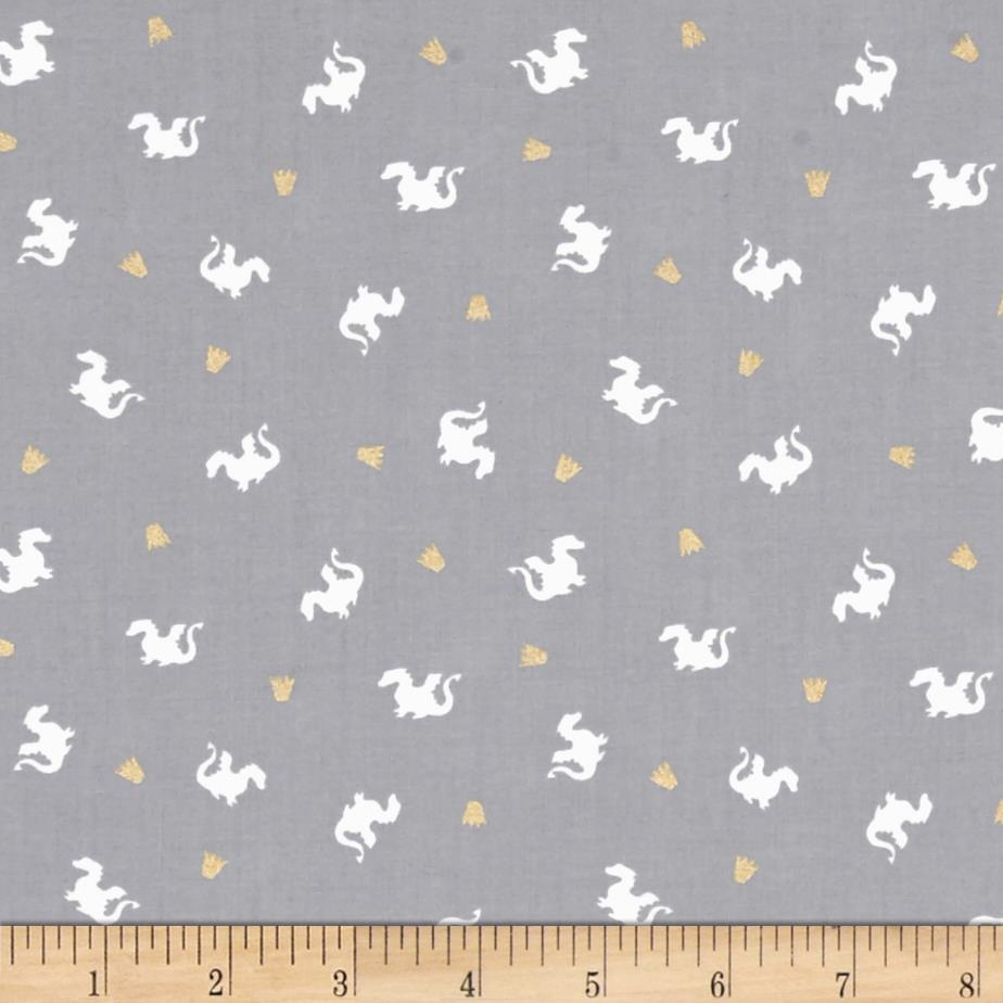 Michael miller sarah jane magic metallic baby dragon gray for Grey baby fabric