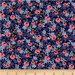 Cotton + Steel Rifle Paper Co. Les Fleurs Rosa Navy