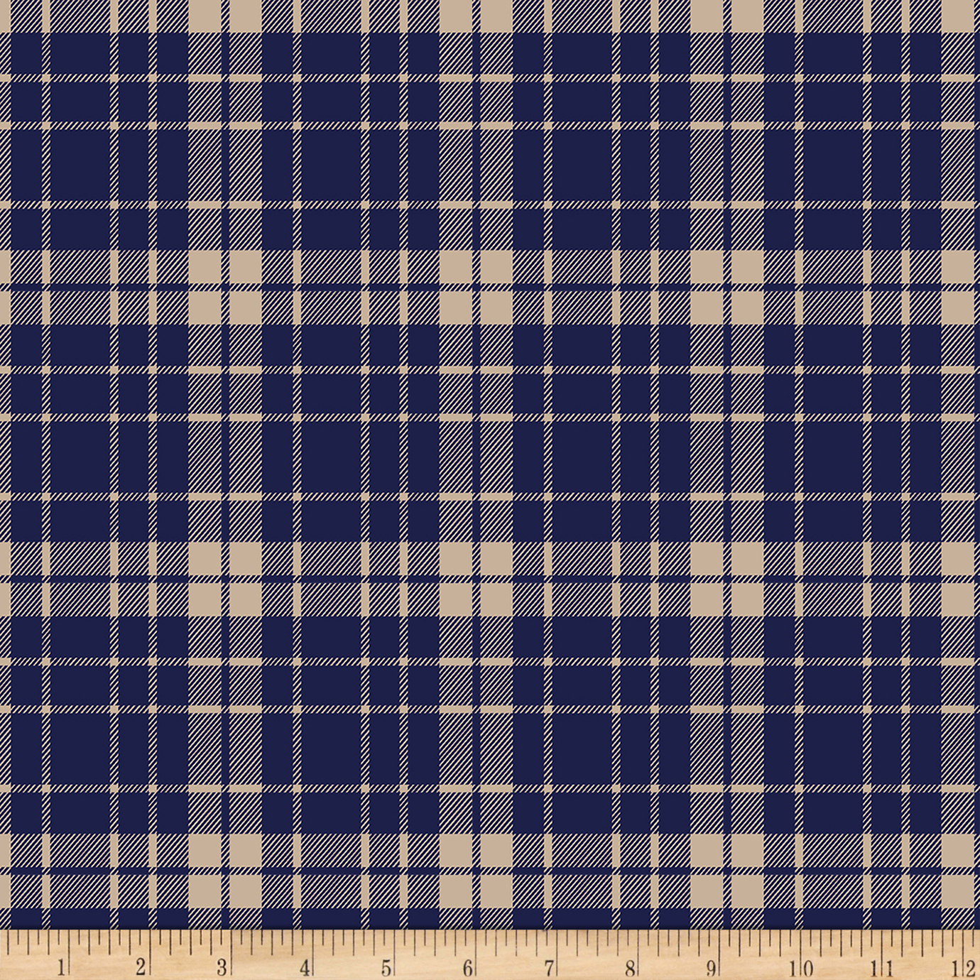 Bolt By Girl Charlee Pure Vintage Jersey Knit School Plaid Navy/taupe Fabric