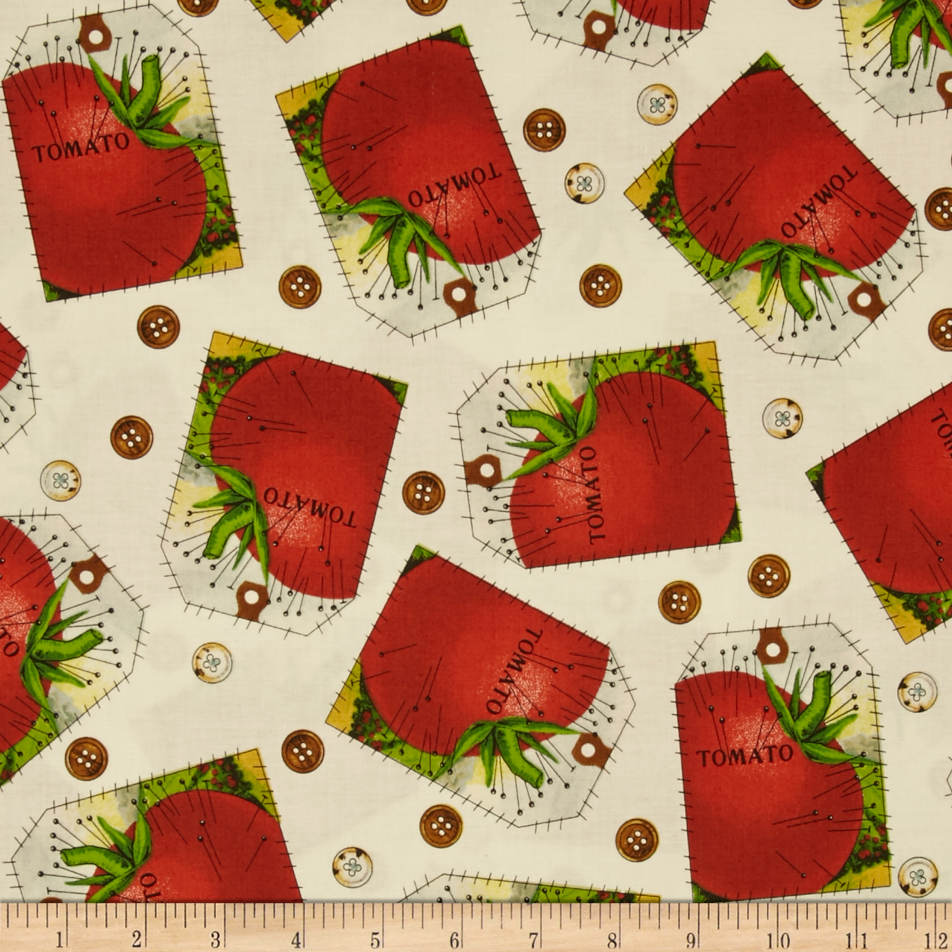 Sewing Seeds Ii Tomato Tag Patch Cream Fabric