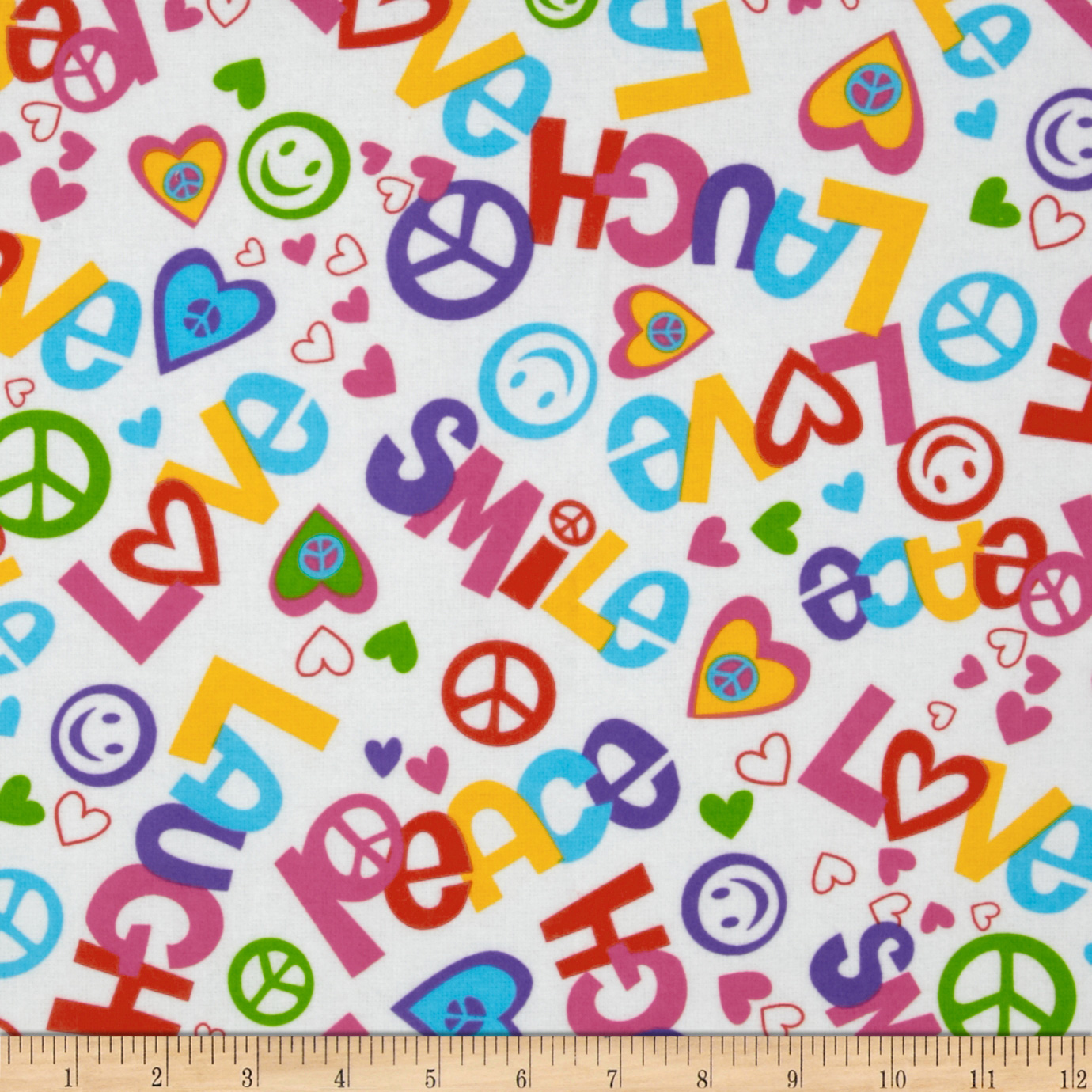 Flannel Love & Peace Multi Fabric