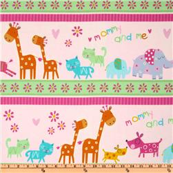 Mommy and Me Flannel Animal Border Stripe Multi