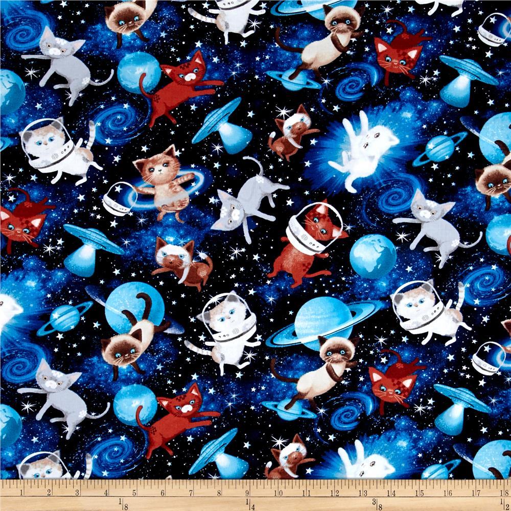 Timeless treasures space cats space discount designer for Timeless treasures galaxy fabric