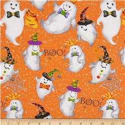 Happy Haunting Ghosts Orange Fabric
