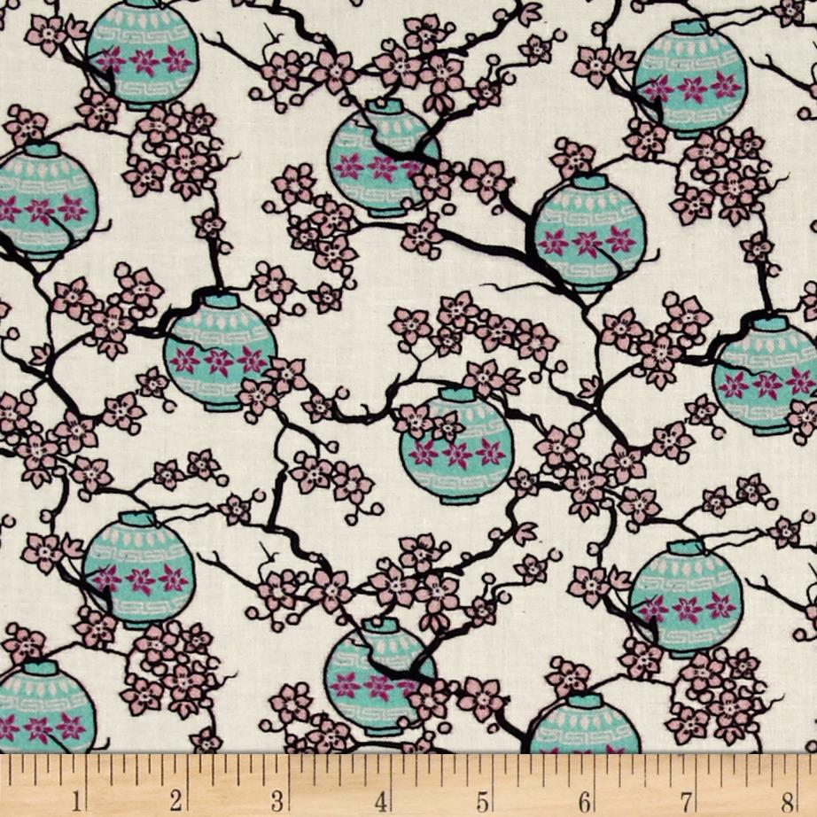 Mary Fons Small Wonders Japan Digital Print Cherry Blossoms Cream