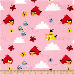 Angry Birds Flannel Float On Pink Fabric