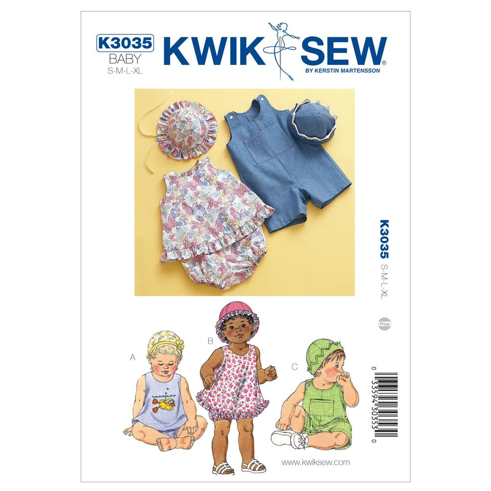 Kwik Sew Babies Sundress, Bloomers, Shortalls & Hats Pattern