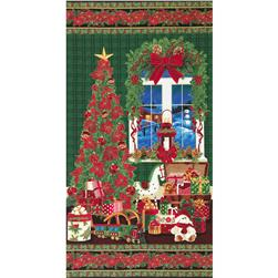 Timeless Treasures Tis the Season Metallic 24 In. Christmas Window Panel Green