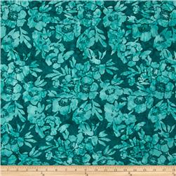 Timeless Treasures Tonga Batik Topaz Poppies Teal