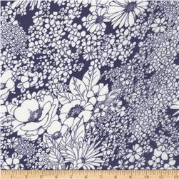 Kaufman Digitally Printed Rayon Lawn Bouquet Indigo