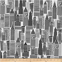 The Big Apple Sky Scrapers Black/White Fabric