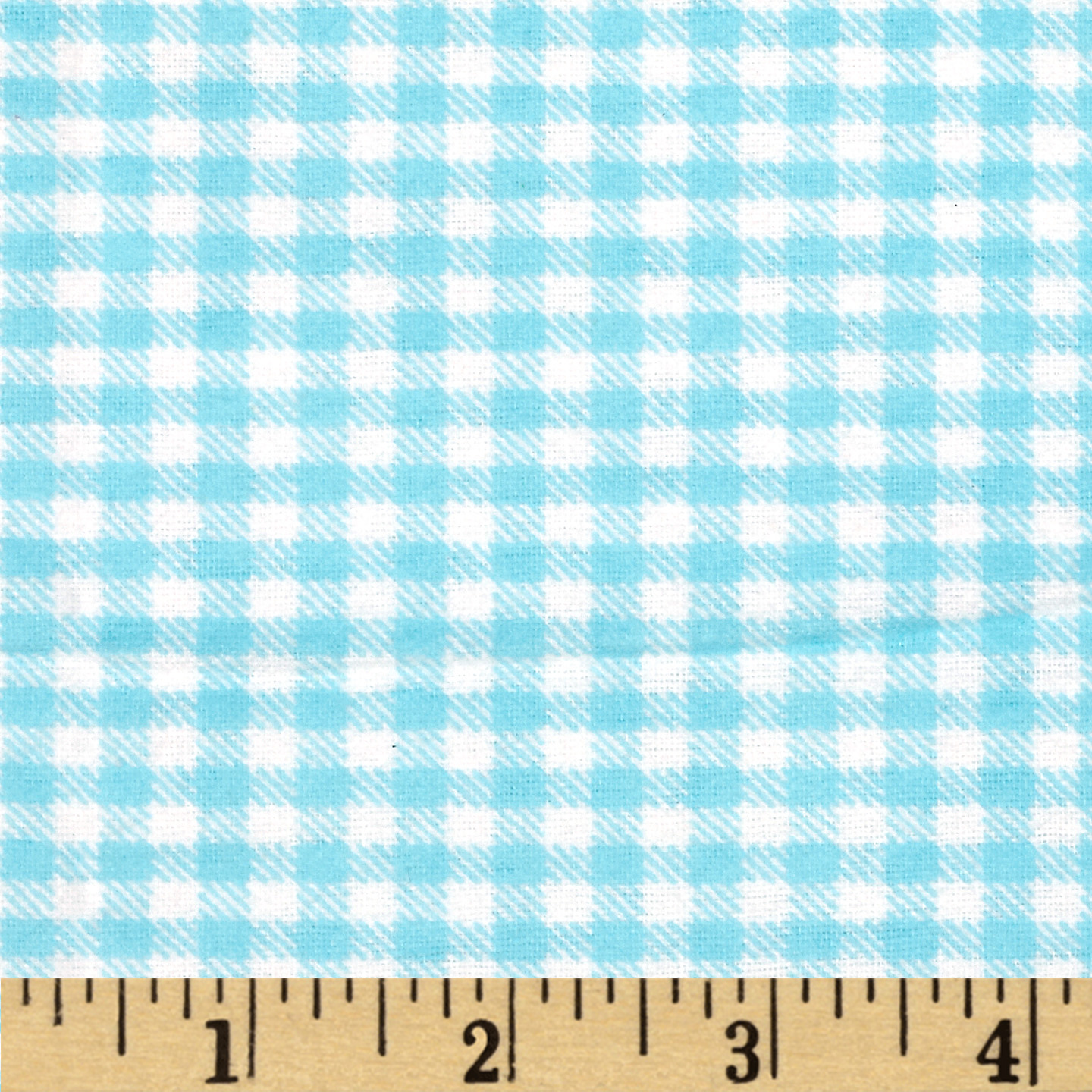 Aunt Polly's Flannel Gingham Aqua/White