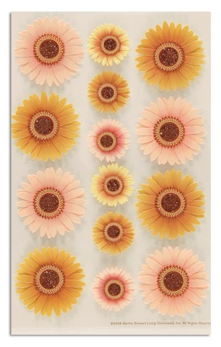 Martha Stewart Crafts Stickers Gerber Daisy Gold/Peach
