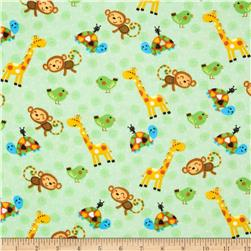 Comfy Flannel Animals & Swirls Green
