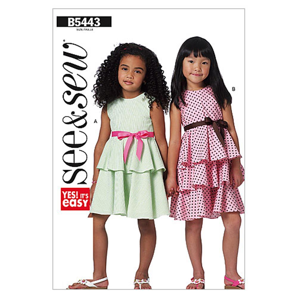 Butterick Children's/Girls' Dress Pattern B5443 Size 0A0