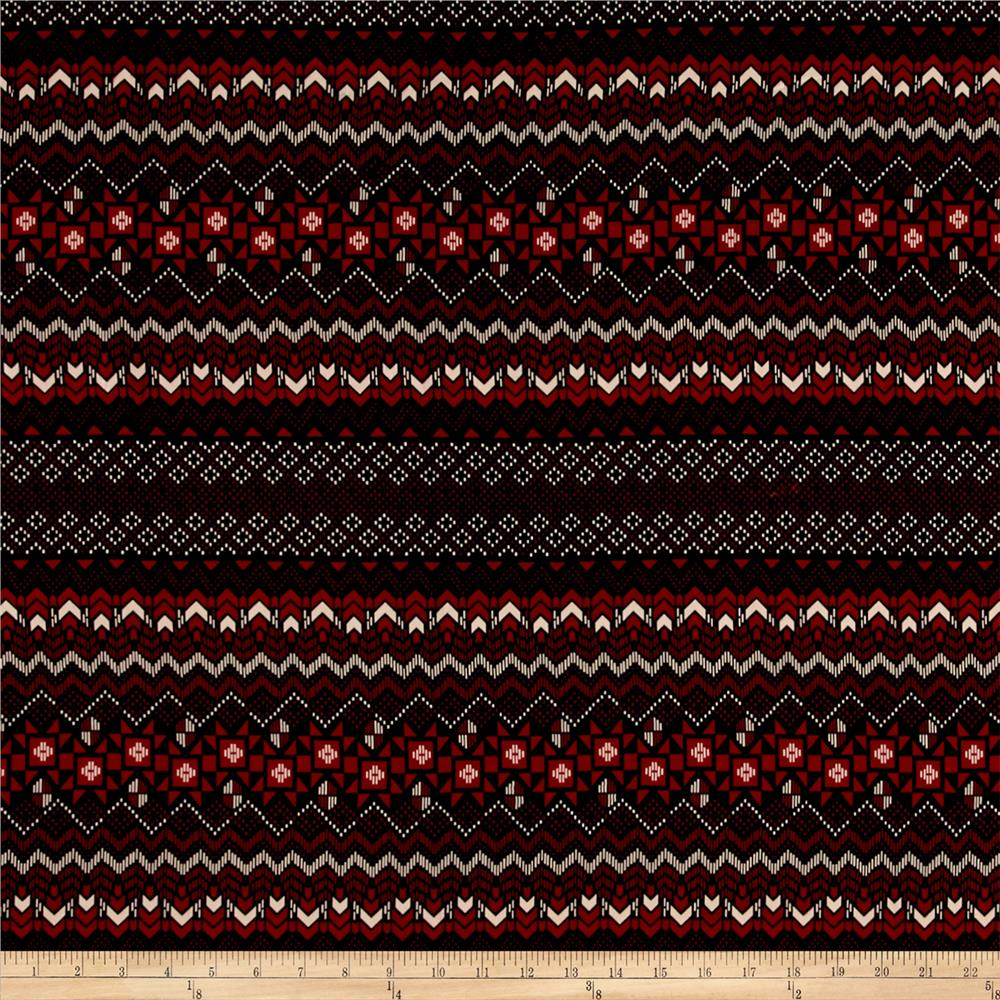 Satin Zig Zag Diamond Aztec Red/Black Fabric