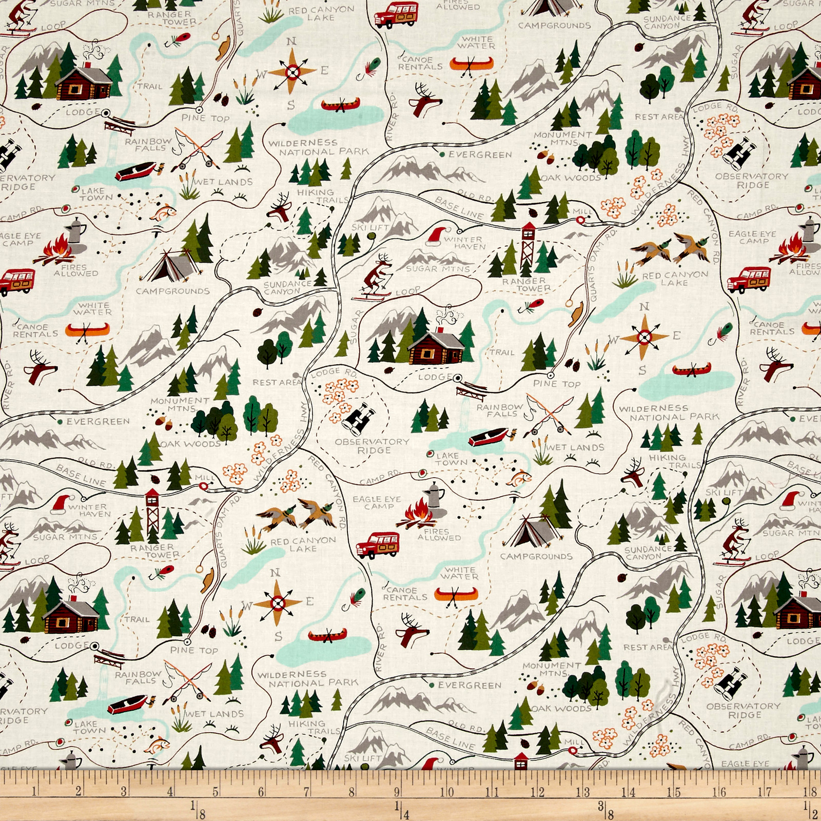 Alexander Henry Christmas Time Sugar Mountain Trail Map Natural Fabric