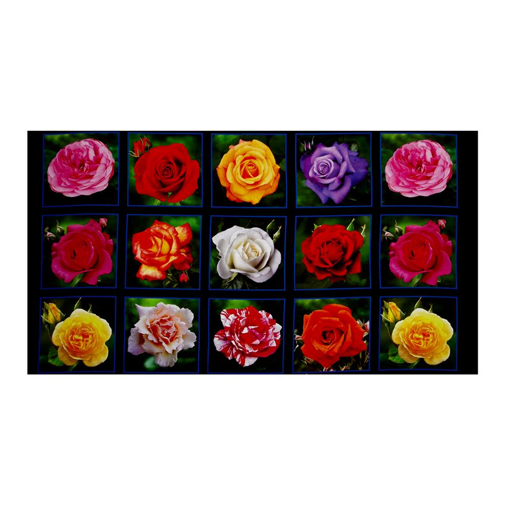Rose Garden Digital Print Block 24'' Panel Black Fabric By The Yard