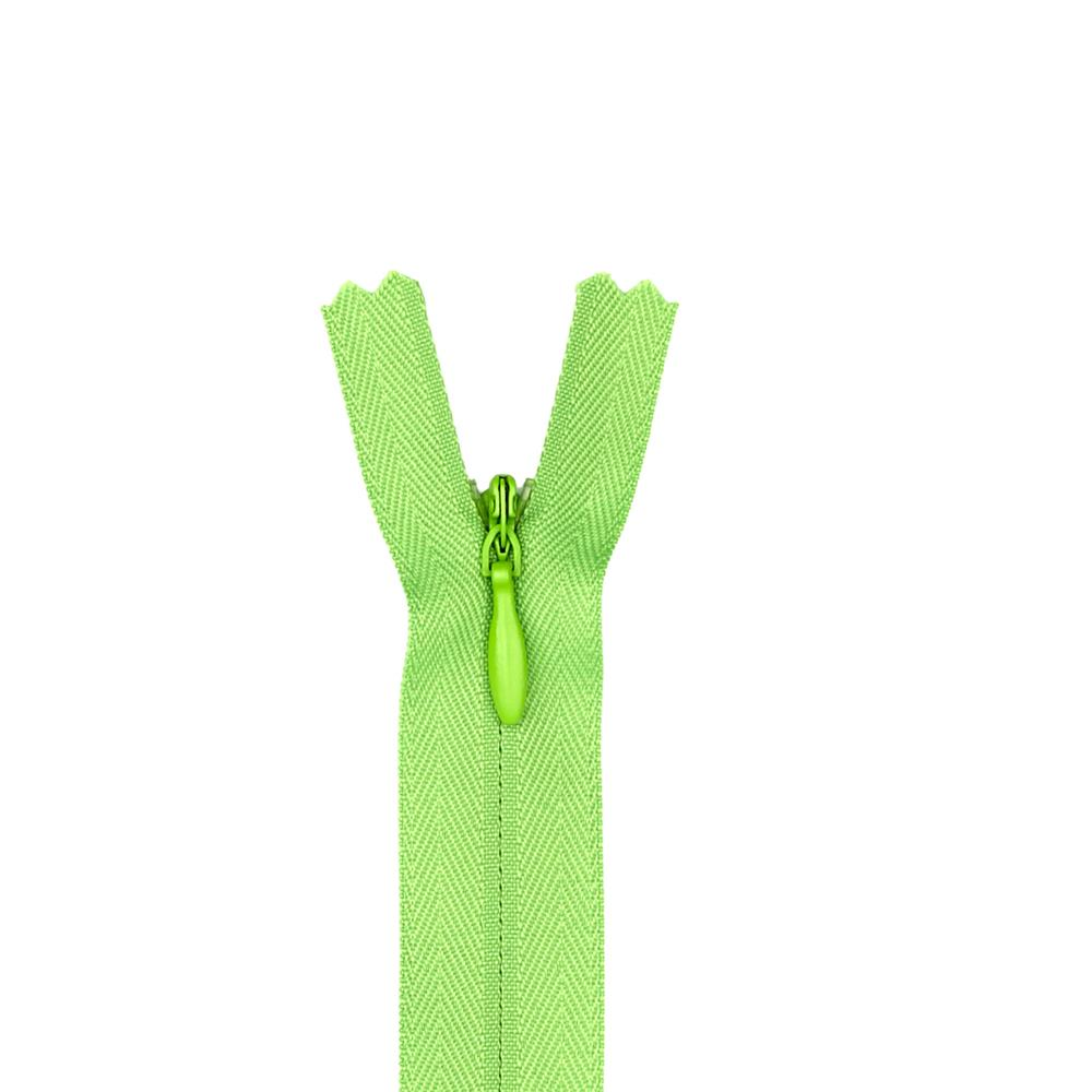 "Poly Invisible Zipper 20-22"" Lime"