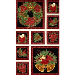 Timeless Treasures Pine & Poinsettia Metallic Christmas Border Panel Cream