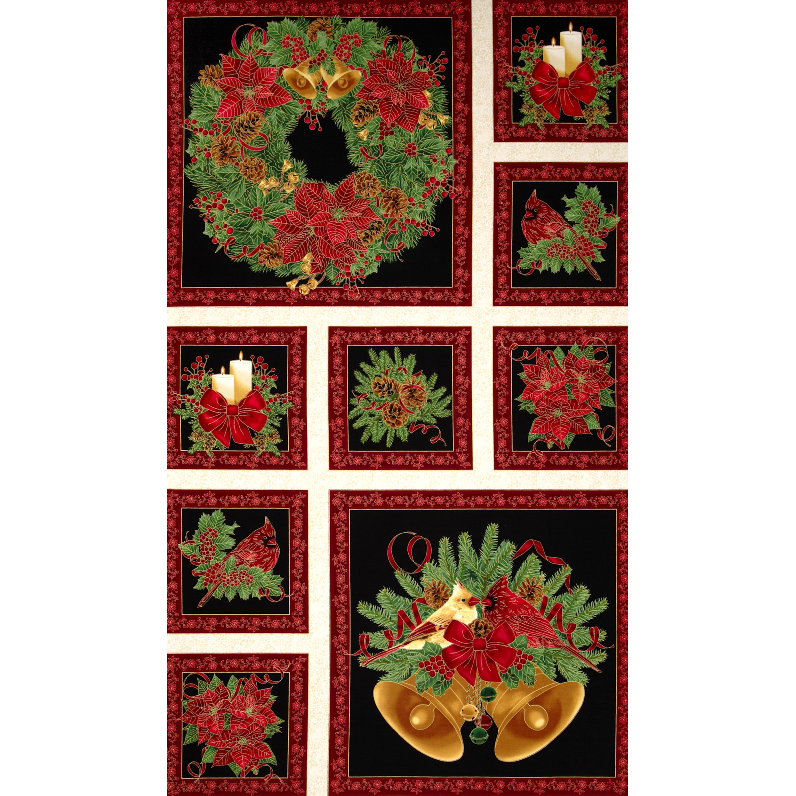Timeless Treasures Pine & Poinsettia Metallic Christmas Border