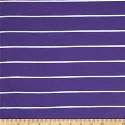 Yarn Dyed Rib Knit Stripe White/Purple