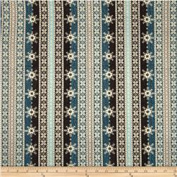 Ski Country Snowflake Stripe Teal