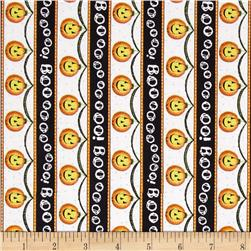 Charmed Pumpkin/Boo Stripe Vertical White