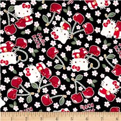 Kokka Sanrio Hello Kitty Cherry Land Sheeting Black