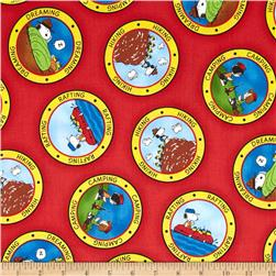 Camp Peanuts Camping Badges Red Fabric