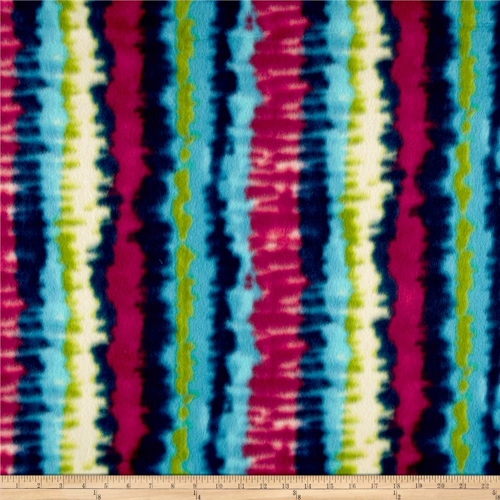 Fleece Tie Dye Stripe Bright Fabric