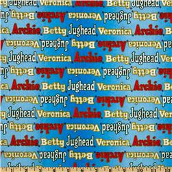 Archie Comics Logo Names Blue Fabric