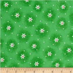 Flannel Tossed Snowflakes Green