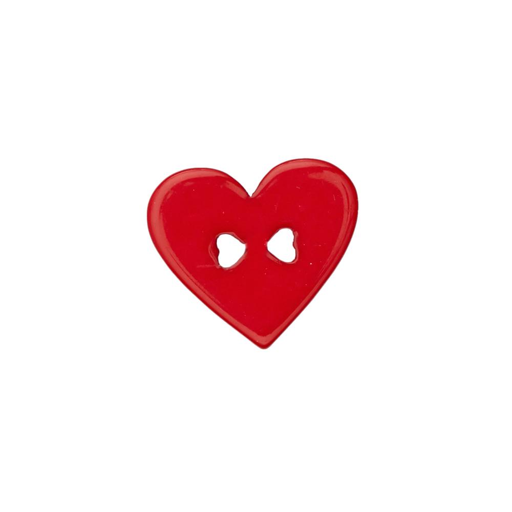 "Novelty Button 1 1/4"" Heart of Hearts Red"